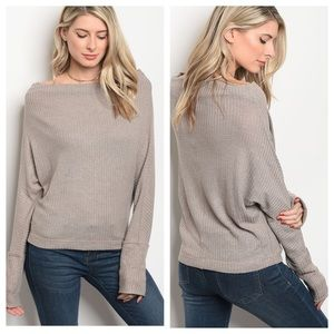 Tops - Taupe Waffle Knit Top